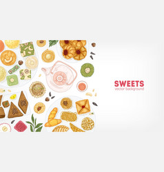 Elegant banner template with oriental sweets on vector