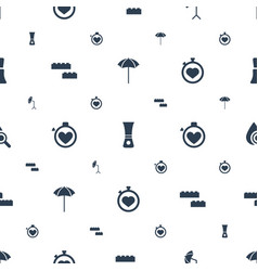 Elements icons pattern seamless white background vector