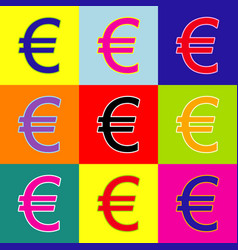 euro sign pop-art style colorful icons vector image