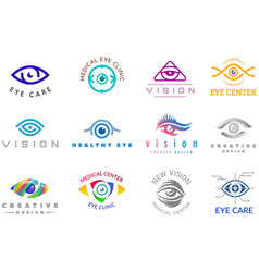 eye logo eyeball icon eyes look vision and vector image