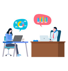 Financial consultant workers brokers cooperation vector