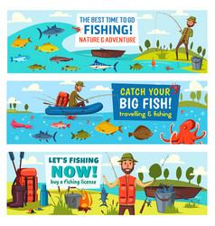 fisherman fish fishing rod boat and equipment vector image
