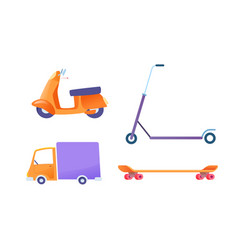 flat delivery vehicle set cargo van scooter vector image
