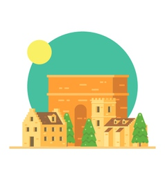 flat design trajans arch italy with village vector image