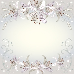 Floral background of white lilia flowers vector image vector image