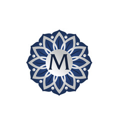 Flower elegant icon initial m vector