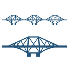 forth bridge set blue silhouette isolated on vector image