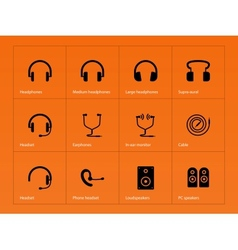 Headphones icons on orange background vector