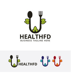 health food logo design vector image