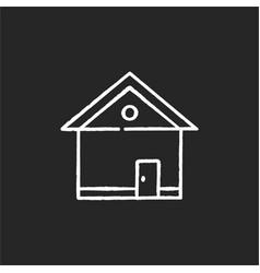 House chalk white icon on black background vector