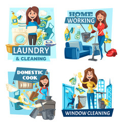 household cooking washing and cleaning service vector image