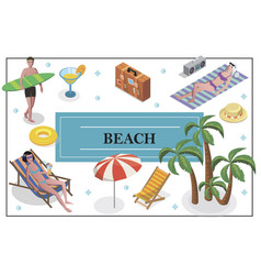 isometric summer holiday concept vector image