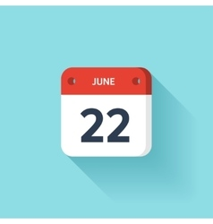 June 22 Isometric Calendar Icon With Shadow vector