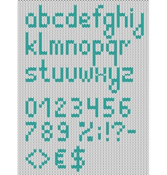 Knitted lowercase english alphabet vector image