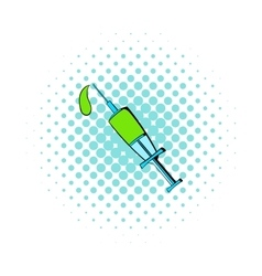 Lethal injection syringe icon comics style vector