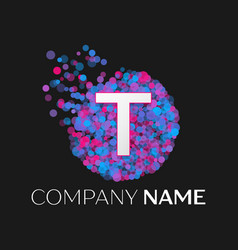 letter t logo with blue purple pink particles vector image