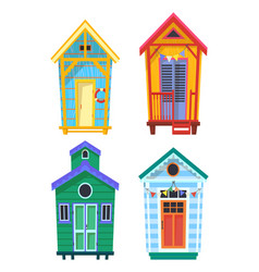 Lifeguard bungalows hut or stations with lifebuoy vector