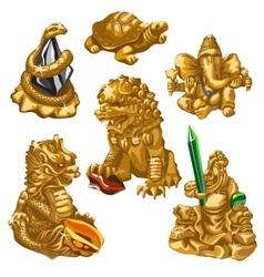 Lion snake poseidon and other symbols worship vector
