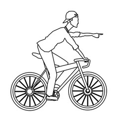 Man riding bicycle transport outline vector