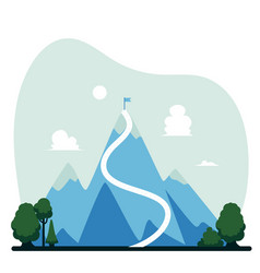 mountain with flag on top success concept vector image