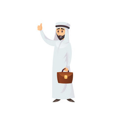 muslim businessman showing thumb up vector image