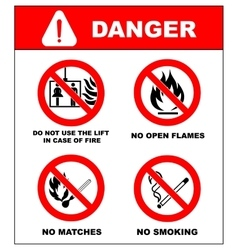 No smoking No open flame no matches no lift vector
