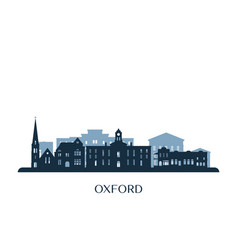Oxford mississippi skyline monochrome vector