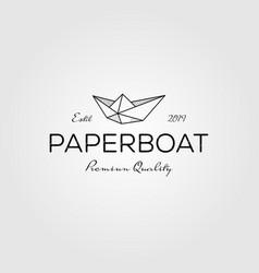 Paper boat line art origami logo vintage retro vector