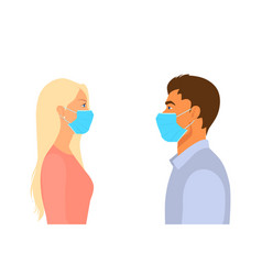 People man woman in respiratory medical vector