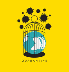 Planet earth in a cage virus quarantine covid-19 vector