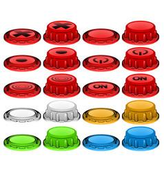 Plastic button press icon set vector