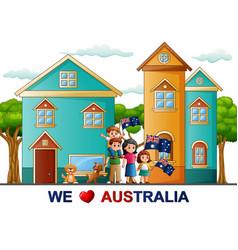 Poster of happy family celebration a australia day vector