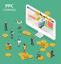 ppc campaign flat isometric concept vector image
