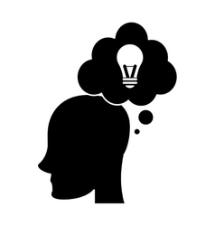 profile head idea bubble thought silhouette vector image