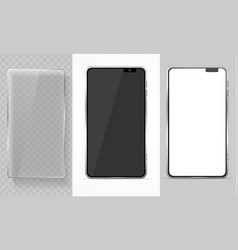 realistic detailed 3d mobile phone and glass vector image