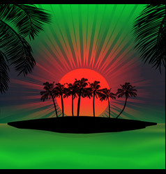 red and green sunset over tropical island vector image