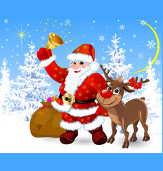 santa and reindeer on the eve of christmas vector image