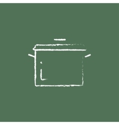 Saucepan icon drawn in chalk vector