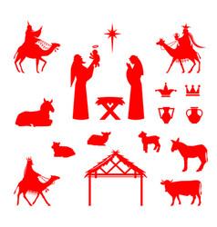 scene bajesus in manger vector image