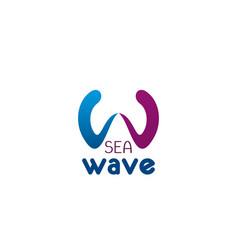 sea wave letter w icon vector image