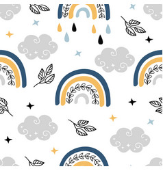 seamless pattern with bohemian rainbow clouds vector image