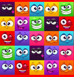 Seamless pattern with funny colorful emoji faces vector