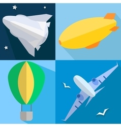 Set airplane airship balloon space shuttle vector image