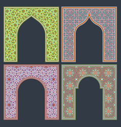 set arched patterned frame in oriental vector image