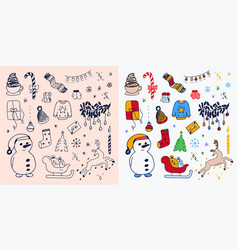 set hand-drawn outlined christmas doodle icons vector image