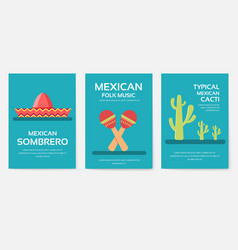 set of mexico country ornament travel tour concept vector image