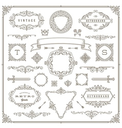 Set of vintage ornament design elements vector