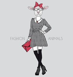 Sheep dressed up in girly style anthropomorphic vector