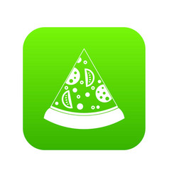 slice of pizza icon digital green vector image