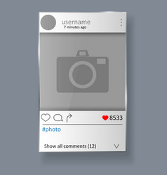 Social network post and photo frame vector
